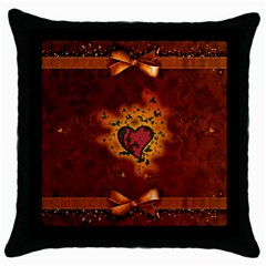 Beautiful Heart With Leaves Throw Pillow Case (Black)