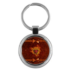 Beautiful Heart With Leaves Key Chain (Round)