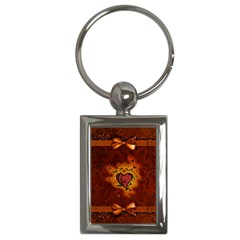Beautiful Heart With Leaves Key Chain (Rectangle)