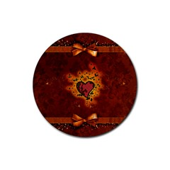 Beautiful Heart With Leaves Rubber Round Coaster (4 pack)