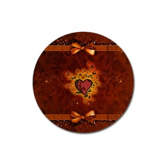 Beautiful Heart With Leaves Magnet 3  (Round)