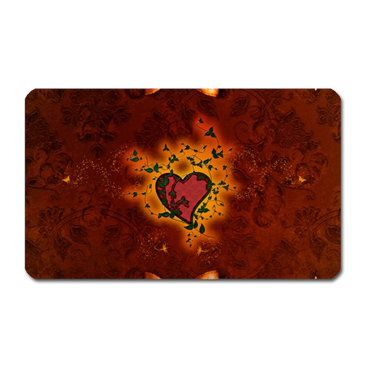 Beautiful Heart With Leaves Magnet (Rectangular)