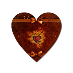 Beautiful Heart With Leaves Heart Magnet