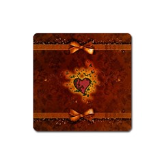 Beautiful Heart With Leaves Square Magnet
