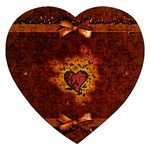 Beautiful Heart With Leaves Jigsaw Puzzle (Heart) Front