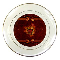 Beautiful Heart With Leaves Porcelain Plates
