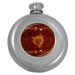Beautiful Heart With Leaves Round Hip Flask (5 Oz) by FantasyWorld7