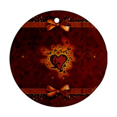 Beautiful Heart With Leaves Round Ornament (Two Sides)