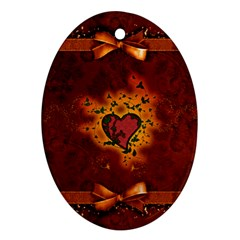 Beautiful Heart With Leaves Oval Ornament (Two Sides)