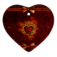 Beautiful Heart With Leaves Heart Ornament (Two Sides)