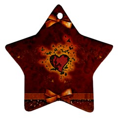 Beautiful Heart With Leaves Star Ornament (Two Sides)