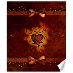 Beautiful Heart With Leaves Canvas 8  x 10