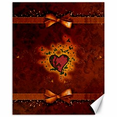 Beautiful Heart With Leaves Canvas 16  x 20