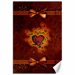 Beautiful Heart With Leaves Canvas 20  x 30