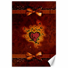 Beautiful Heart With Leaves Canvas 24  x 36