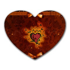 Beautiful Heart With Leaves Heart Mousepads