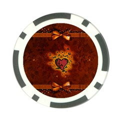 Beautiful Heart With Leaves Poker Chip Card Guard