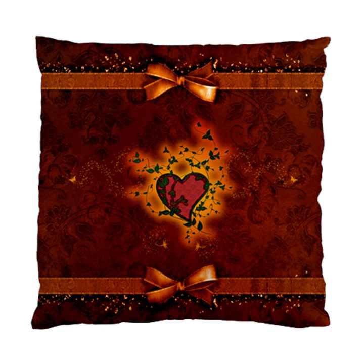 Beautiful Heart With Leaves Standard Cushion Case (Two Sides)