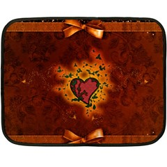 Beautiful Heart With Leaves Double Sided Fleece Blanket (Mini)