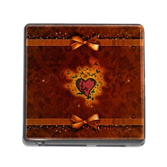 Beautiful Heart With Leaves Memory Card Reader (Square 5 Slot)