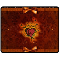 Beautiful Heart With Leaves Fleece Blanket (medium)  by FantasyWorld7