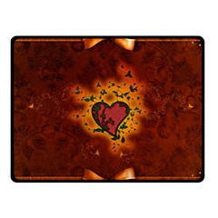 Beautiful Heart With Leaves Fleece Blanket (Small)