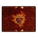 Beautiful Heart With Leaves Fleece Blanket (Small) 50 x40  Blanket Front