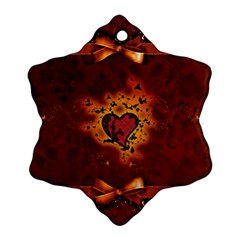 Beautiful Heart With Leaves Snowflake Ornament (Two Sides)