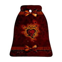 Beautiful Heart With Leaves Bell Ornament (Two Sides)
