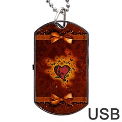 Beautiful Heart With Leaves Dog Tag USB Flash (One Side)
