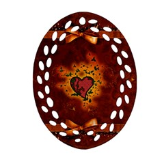 Beautiful Heart With Leaves Ornament (Oval Filigree)