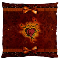 Beautiful Heart With Leaves Large Cushion Case (Two Sides)