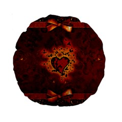 Beautiful Heart With Leaves Standard 15  Premium Round Cushions