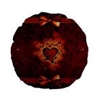 Beautiful Heart With Leaves Standard 15  Premium Round Cushions Front