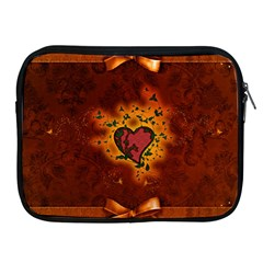 Beautiful Heart With Leaves Apple iPad 2/3/4 Zipper Cases