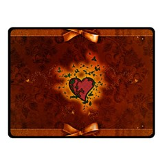 Beautiful Heart With Leaves Double Sided Fleece Blanket (Small)