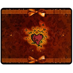 Beautiful Heart With Leaves Double Sided Fleece Blanket (Medium)