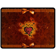 Beautiful Heart With Leaves Double Sided Fleece Blanket (Large)