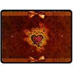 Beautiful Heart With Leaves Double Sided Fleece Blanket (Large)  80 x60  Blanket Front