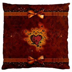 Beautiful Heart With Leaves Large Flano Cushion Case (Two Sides)