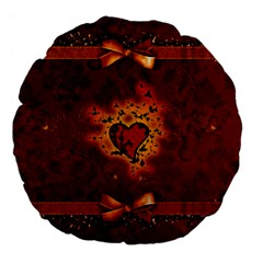 Beautiful Heart With Leaves Large 18  Premium Flano Round Cushions
