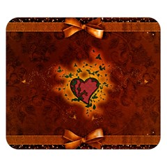 Beautiful Heart With Leaves Double Sided Flano Blanket (Small)