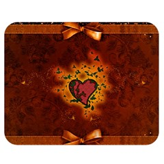 Beautiful Heart With Leaves Double Sided Flano Blanket (Medium)