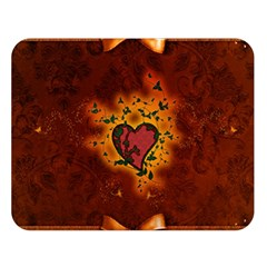 Beautiful Heart With Leaves Double Sided Flano Blanket (Large)