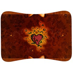 Beautiful Heart With Leaves Velour Seat Head Rest Cushion