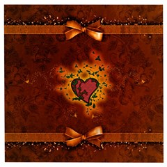 Beautiful Heart With Leaves Wooden Puzzle Square
