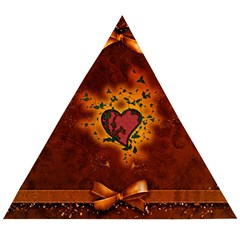 Beautiful Heart With Leaves Wooden Puzzle Triangle