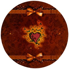 Beautiful Heart With Leaves Wooden Puzzle Round