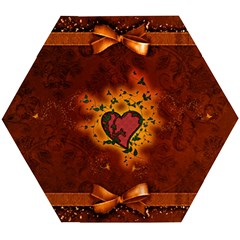 Beautiful Heart With Leaves Wooden Puzzle Hexagon