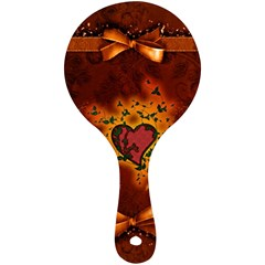 Beautiful Heart With Leaves Mini Wooden Mirror